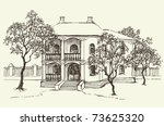 vector landscape. sketch... | Shutterstock .eps vector #73625320