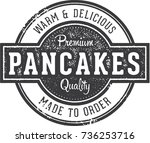 vintage pancakes breakfast... | Shutterstock .eps vector #736253716