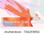 sale advertisement banner on... | Shutterstock .eps vector #736255852