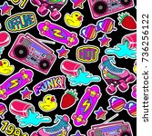 seamless pattern with colorful... | Shutterstock .eps vector #736256122