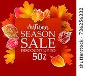fall sale poster. vector... | Shutterstock .eps vector #736256332