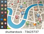 street map with gps icons. | Shutterstock .eps vector #73625737