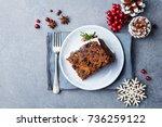 christmas fruit cake  pudding... | Shutterstock . vector #736259122