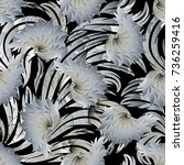 floral 3d seamless pattern.... | Shutterstock .eps vector #736259416