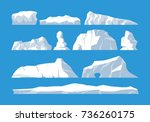 icebergs set on blue background | Shutterstock .eps vector #736260175