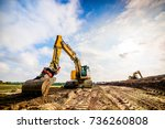 big excavator in construction... | Shutterstock . vector #736260808