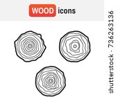 wood tree logo. tree rings... | Shutterstock .eps vector #736263136