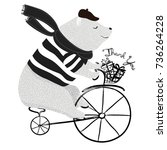 cute bear on bicycle vector... | Shutterstock .eps vector #736264228