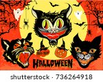 Stock vector halloween set of angry black cat head masks on full moon and orange sky background with spooky 736264918
