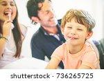 happy family having fun...   Shutterstock . vector #736265725