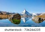 matterhorn peak reflected in... | Shutterstock . vector #736266235