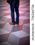 young men walking above three... | Shutterstock . vector #736266736