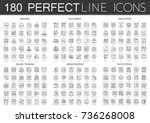 180 outline mini concept icons... | Shutterstock .eps vector #736268008
