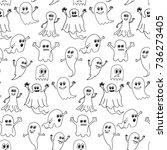 cute halloween ghosts seamless... | Shutterstock .eps vector #736273405
