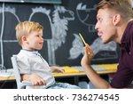 cute little boy at speech... | Shutterstock . vector #736274545