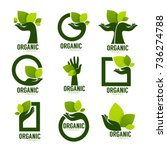 nature product logo set ... | Shutterstock .eps vector #736274788