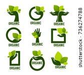 nature product logo set ... | Shutterstock .eps vector #736274788