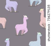 seamless pattern with alpaca in ...   Shutterstock .eps vector #736279135
