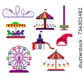 amusement park in flat colorful ... | Shutterstock .eps vector #736301482