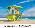 lifeguard tower in south beach  ... | Shutterstock . vector #736304062