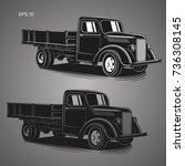 old retro truck vector... | Shutterstock .eps vector #736308145