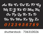calligraphic letter design.... | Shutterstock .eps vector #736310026