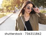 close up fashion outdoor... | Shutterstock . vector #736311862