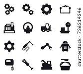 16 vector icon set   gear ... | Shutterstock .eps vector #736314346