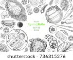 spring rolls and ingredients... | Shutterstock .eps vector #736315276