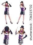 a girl in harlequin costume... | Shutterstock . vector #736315732