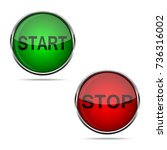 3d start and stop round buttons ... | Shutterstock .eps vector #736316002