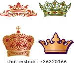 set of different type monarch... | Shutterstock .eps vector #736320166
