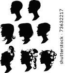 collection of vector hairstyles | Shutterstock .eps vector #73632217