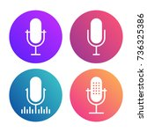 podcast icon set. colored... | Shutterstock .eps vector #736325386