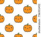seamless halloween pattern... | Shutterstock .eps vector #736331452