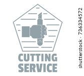 cutting sevice logo. vintage... | Shutterstock .eps vector #736334572