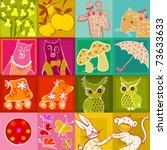 multicolor set of doodle... | Shutterstock .eps vector #73633633
