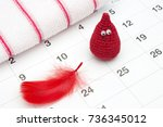 crochet funny blood drop and a... | Shutterstock . vector #736345012