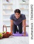 man promoting the benefits of... | Shutterstock . vector #736346692