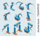 isometric industrial factory... | Shutterstock .eps vector #736349935