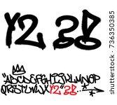 spray graffiti tagging font.... | Shutterstock .eps vector #736350385