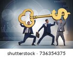 businessmen holding giant key... | Shutterstock . vector #736354375