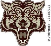 tattoo wolf head    Shutterstock .eps vector #736357138