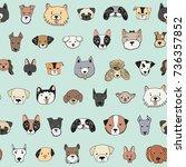 dog face funny cartoon doodle... | Shutterstock . vector #736357852