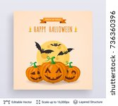 halloween party poster. cute... | Shutterstock .eps vector #736360396