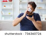 young man recovering healing at ... | Shutterstock . vector #736360726
