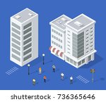 set of urban houses with people ... | Shutterstock .eps vector #736365646