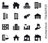 16 vector icon set   mansion ... | Shutterstock .eps vector #736365925