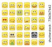 large set square smileys vector ...   Shutterstock .eps vector #736367662