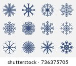 snowflakes set icon isolated on ... | Shutterstock .eps vector #736375705